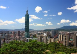 sunny Taipei scene with taipei101
